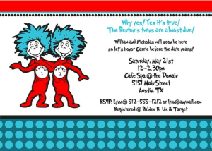 twin baby shower Dr. Seuss thing one Thing two