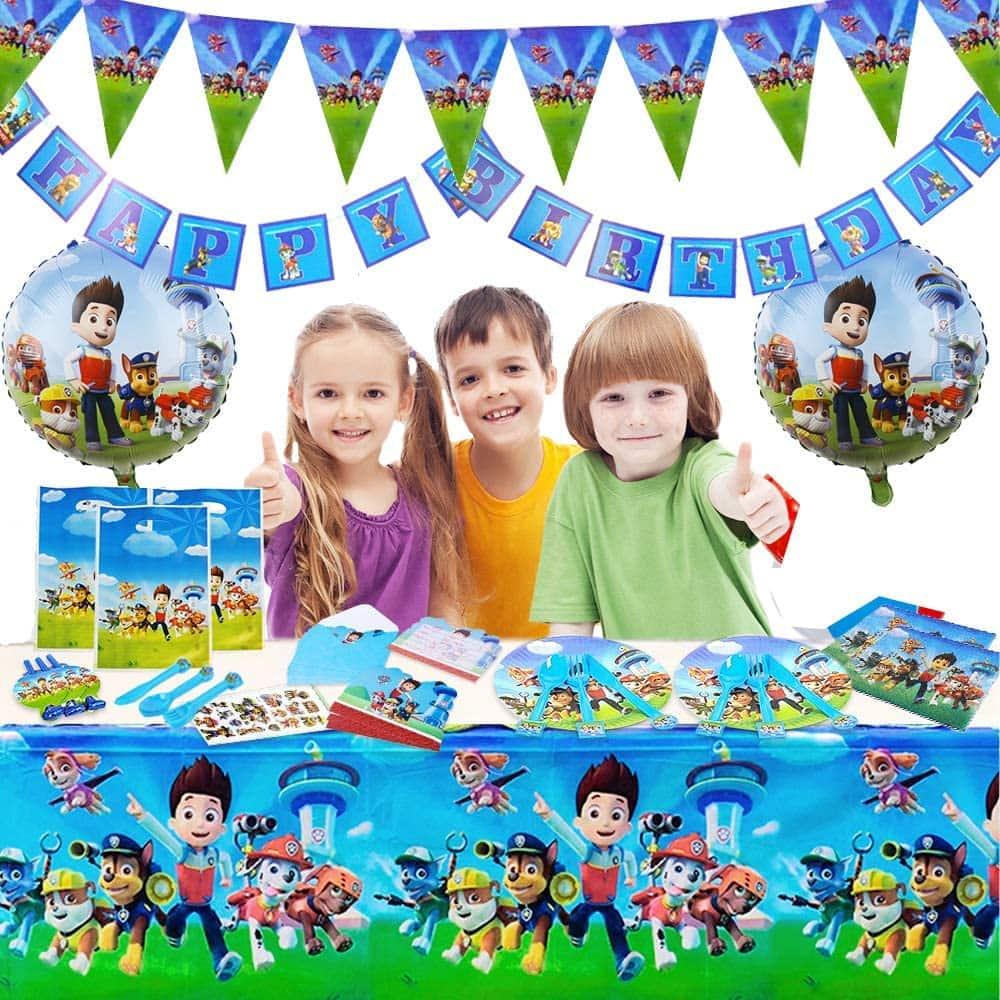 twins' birthday 3 kids with a paw patrol birthday decorations set