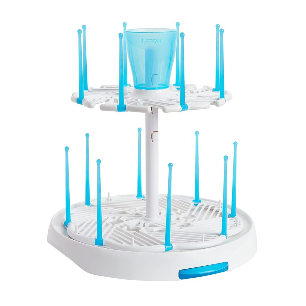 baby bottle drying rack double-decker white drying rack with a utensil cup on the top