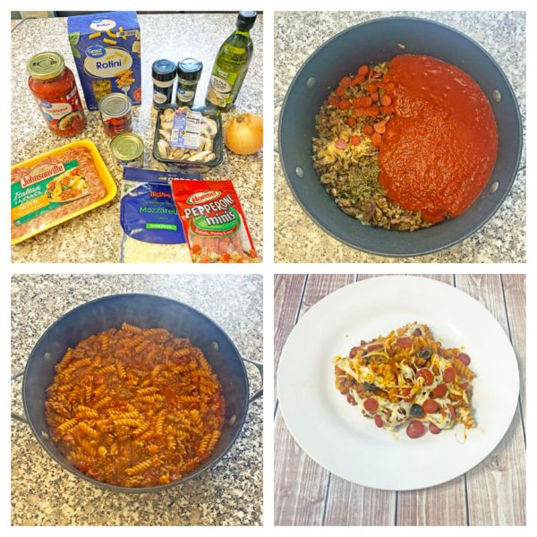 30-minute pizza pasta collage photo of ingredients and cooking process