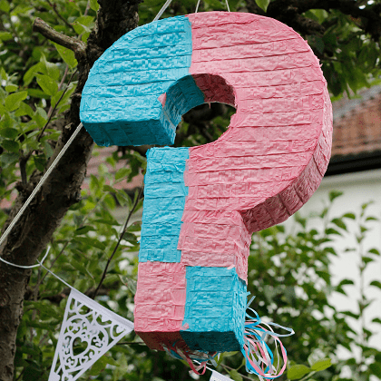 twins ultrasound a pink and blue pinata shaped like a question mark to determine the sex of a baby