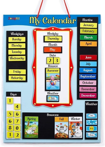 remote learning space hanging magnetic calendar