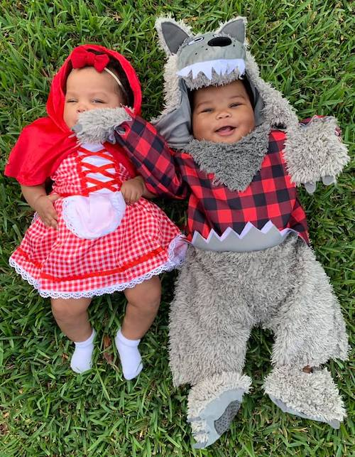 babies dressed as little red riding hood and the wolf boy girl twin halloween costumes