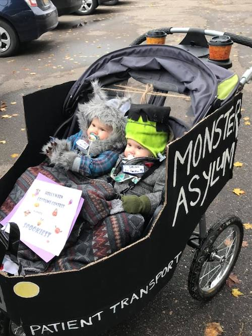 baby twins dressed as werewolf and Frankenstein boy girl twin halloween costumes