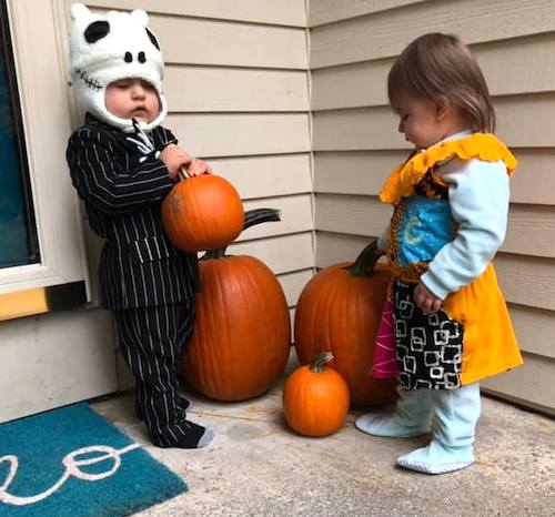 toddler twins dressed as nightmare before Christmas characters boy girl twin halloween costumes