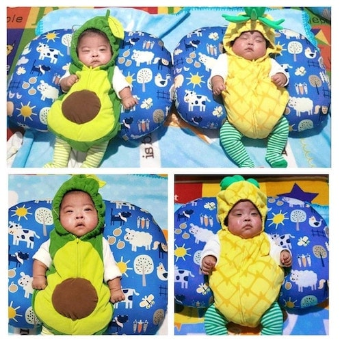 baby twins dressed as an avocado and pineapple boy girl twin halloween costumes