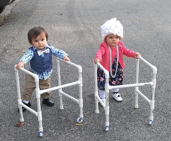 toddler twins dressed as old people with walkers boy girl twin halloween costumes