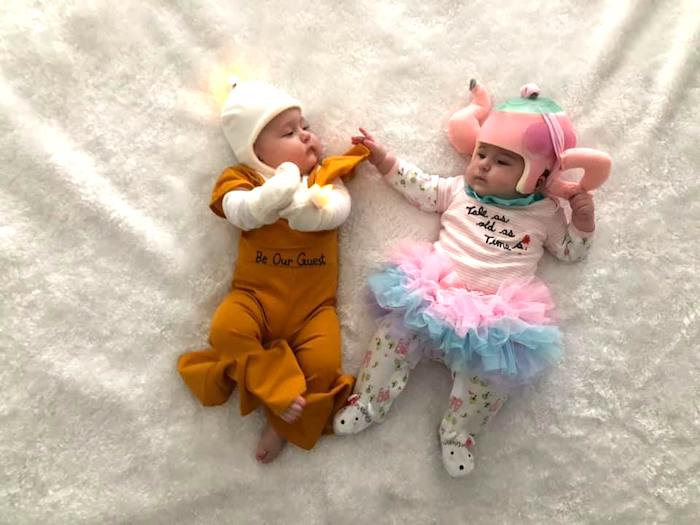 baby twins dressed as beauty and the beast characters boy girl twin halloween costumes