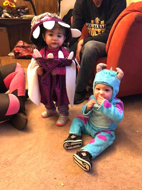 twin babies dressed as boo and sully from monsters inc boy girl twin halloween costumes