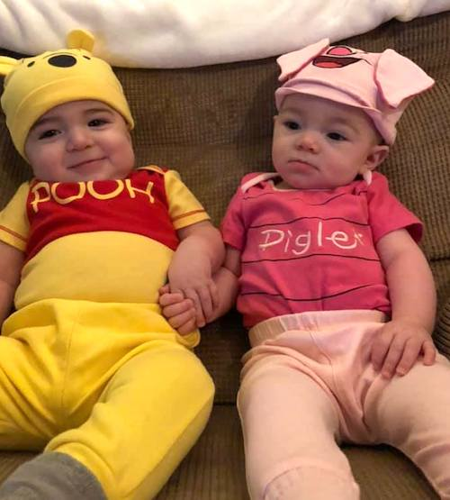 twin babies dressed as pooh and piglet boy girl twin halloween costumes