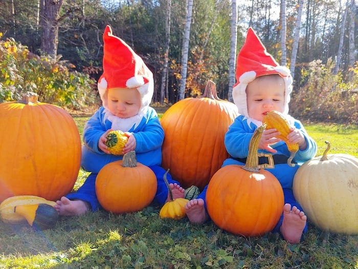 baby twins dressed as gnomes boy girl twin halloween costumes