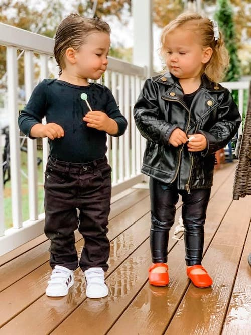 toddler twins dressed as sandy and Danny from Grease boy girl twin halloween costumes