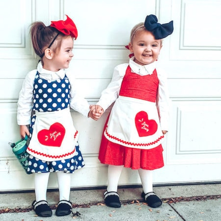 lucy and ethel from I Love Lucy twin girls halloween costumes