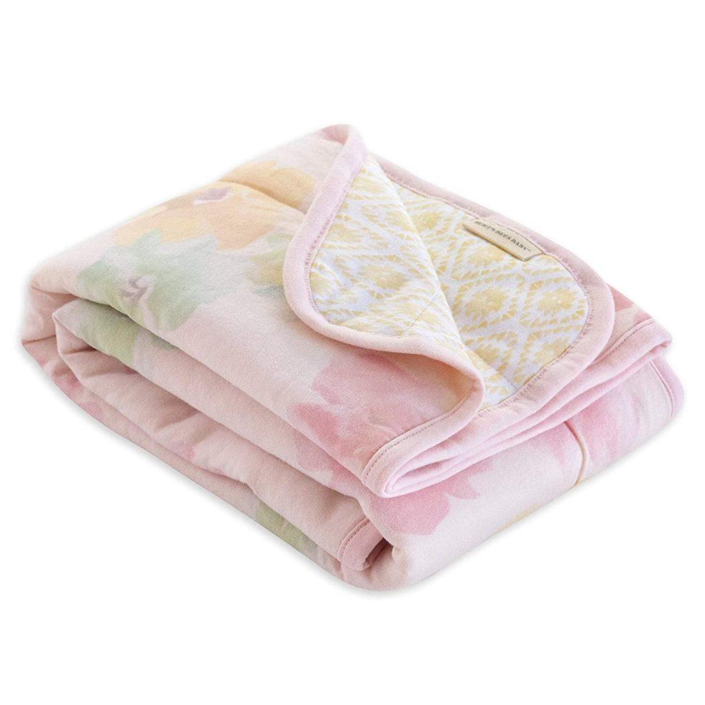 stroller blanket soft pink  colored folded baby blanket