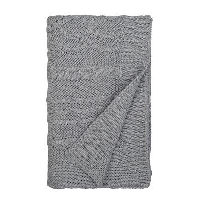 stroller blanket Grey folded cable-knit baby blanket