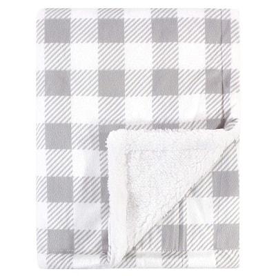 stroller blanket grey plaid, folded baby blanket