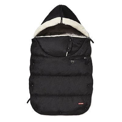 stroller blanket a black baby bunting bag with white fleece lining and a hood