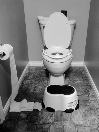 potty training regression black and white toilet with potty seat on top and a stool in front of it