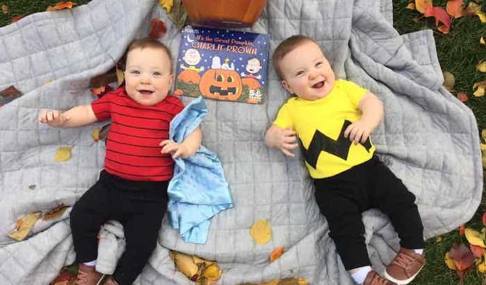twin babies dressed as charlie brown and linus twin boys halloween costumes
