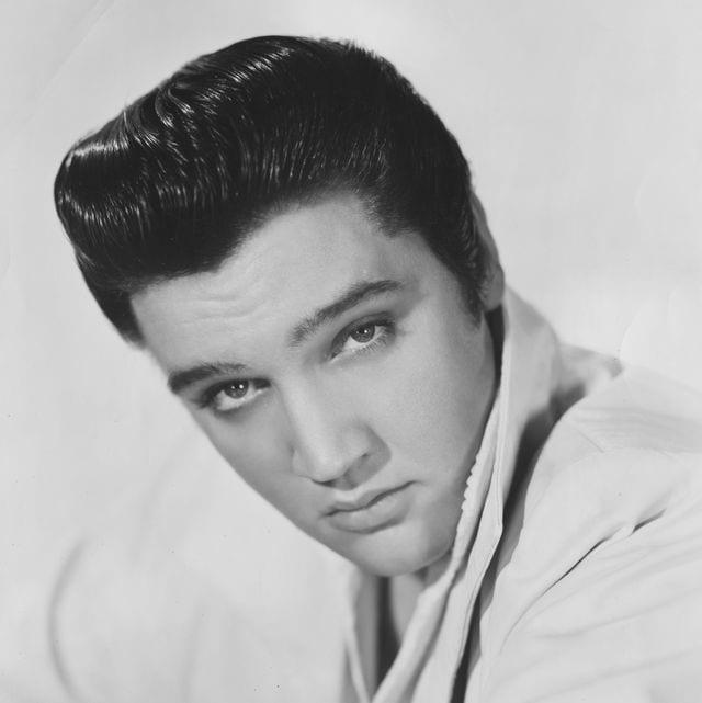 celebrity twins black and white headshot of Elvis Presley