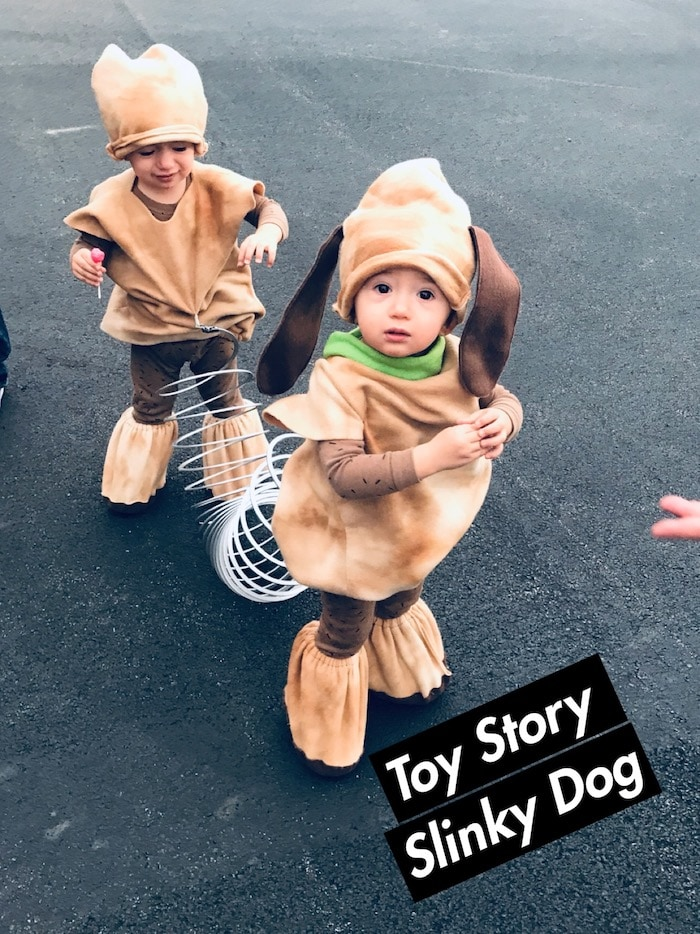 twin toddlers dressed as slinky dog twin boys halloween costumes