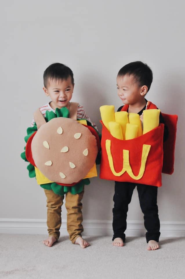 twins dressed as mcdonald's food twin boys halloween costumes