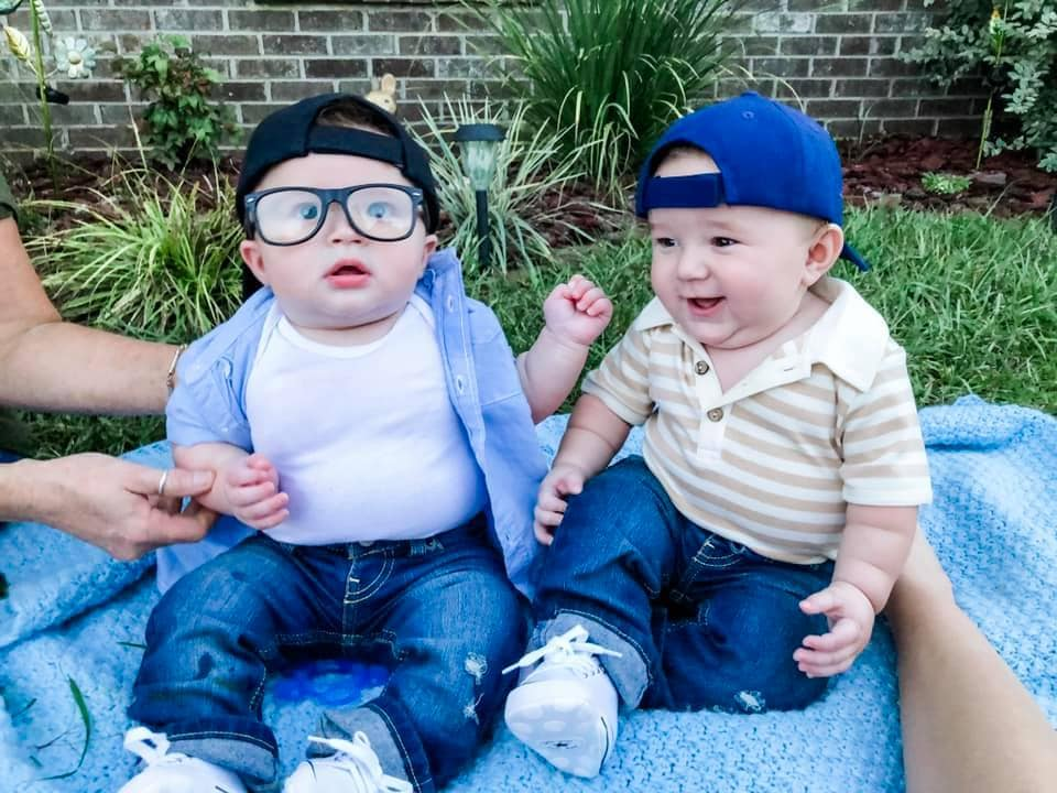 twin babies dressed as hambino and squints from the sandlot twin boys halloween costumes