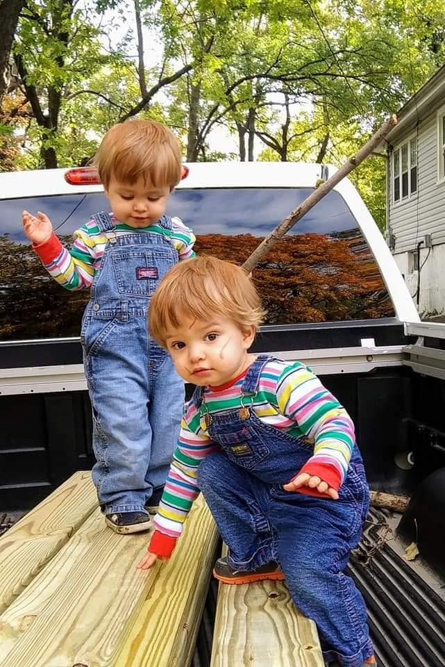 twin toddlers dressed as chuckie twin boys halloween costumes