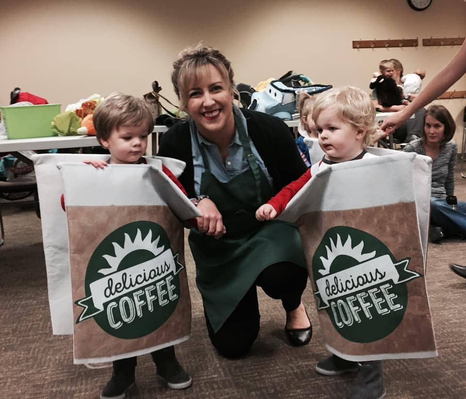 twins dressed as coffee cups twin boys halloween costumes