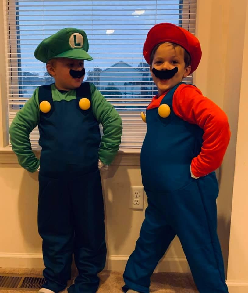 twin boys dressed as mario and luigi twin boys halloween costumes
