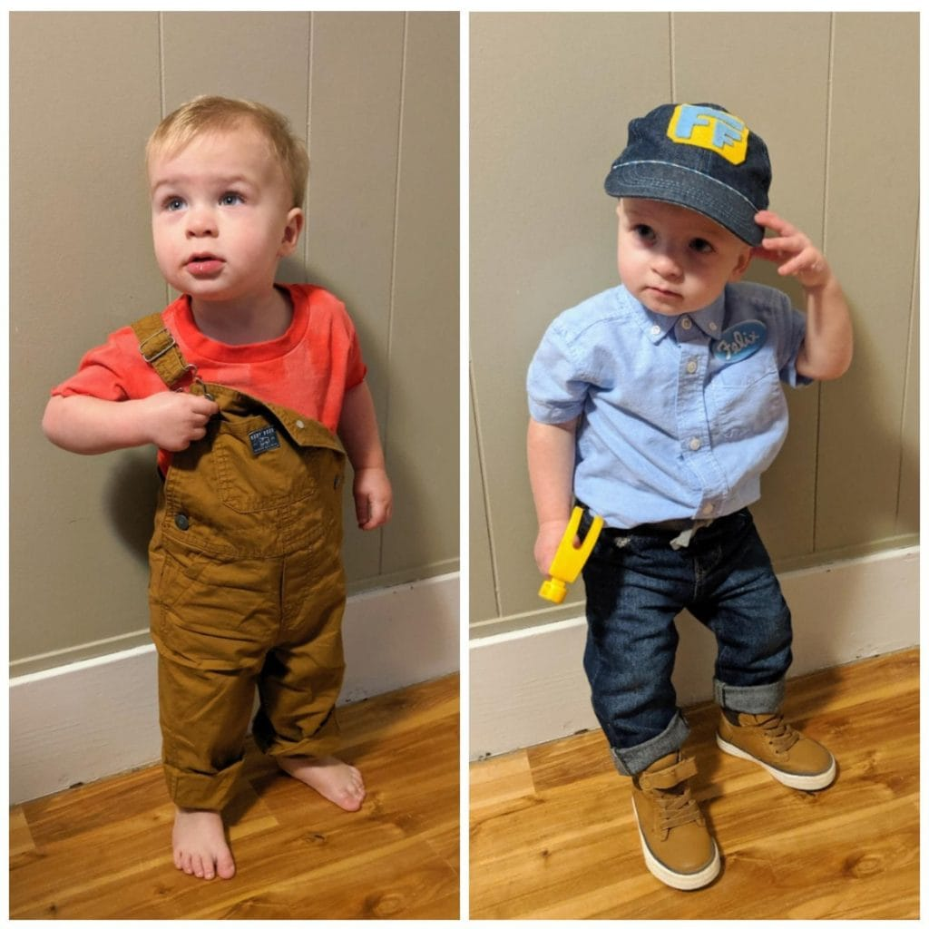 twin toddlers dressed as wreck it ralph twin boys halloween costumes