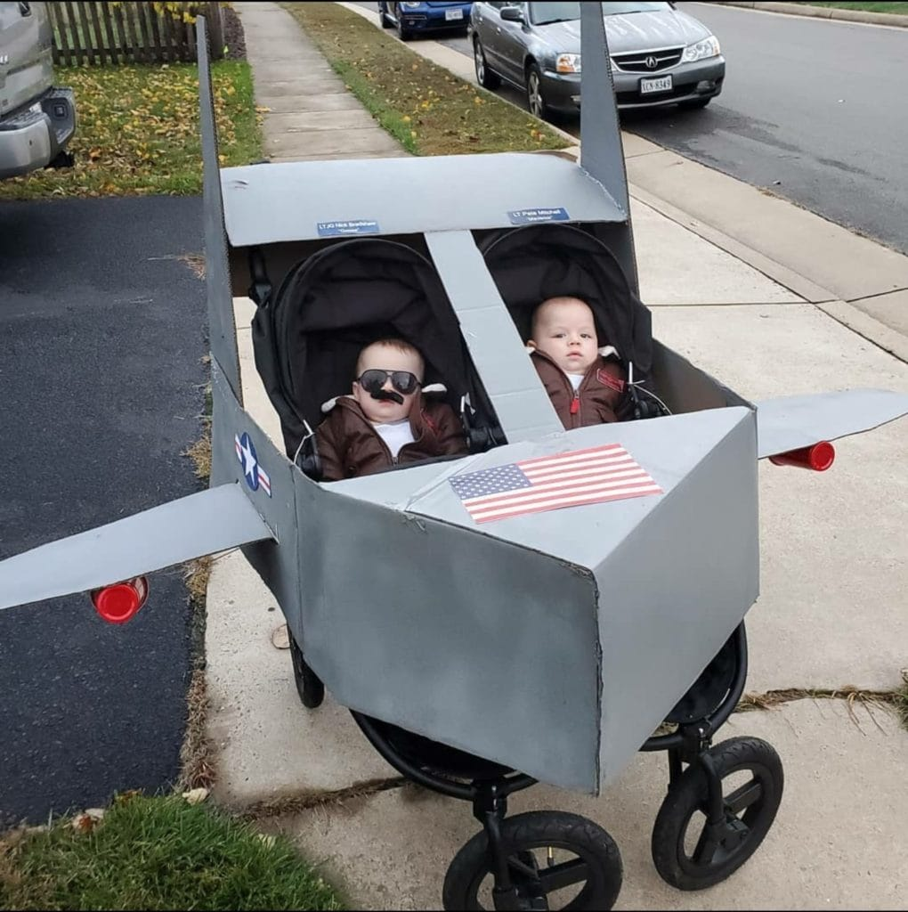 twins dressed as top gun characters twin boys halloween costumes