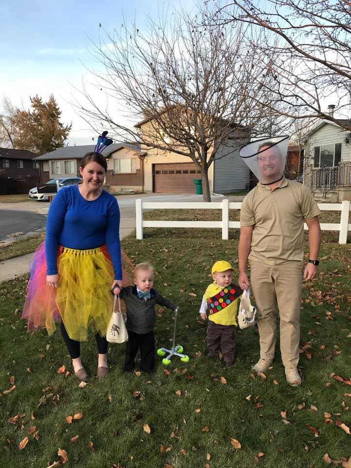 family dressed as characters from UP twin boys halloween costumes