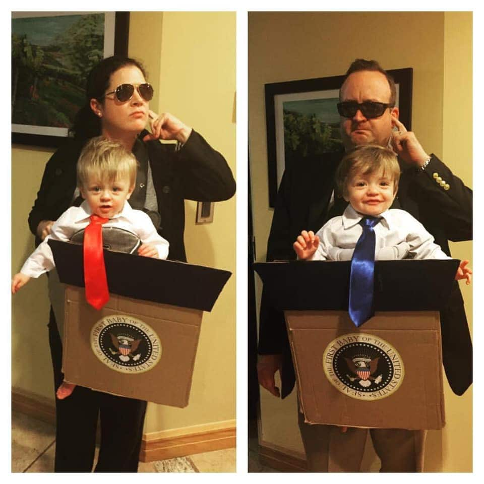 twins dressed like politicians with secret service parents twin boys halloween costumes