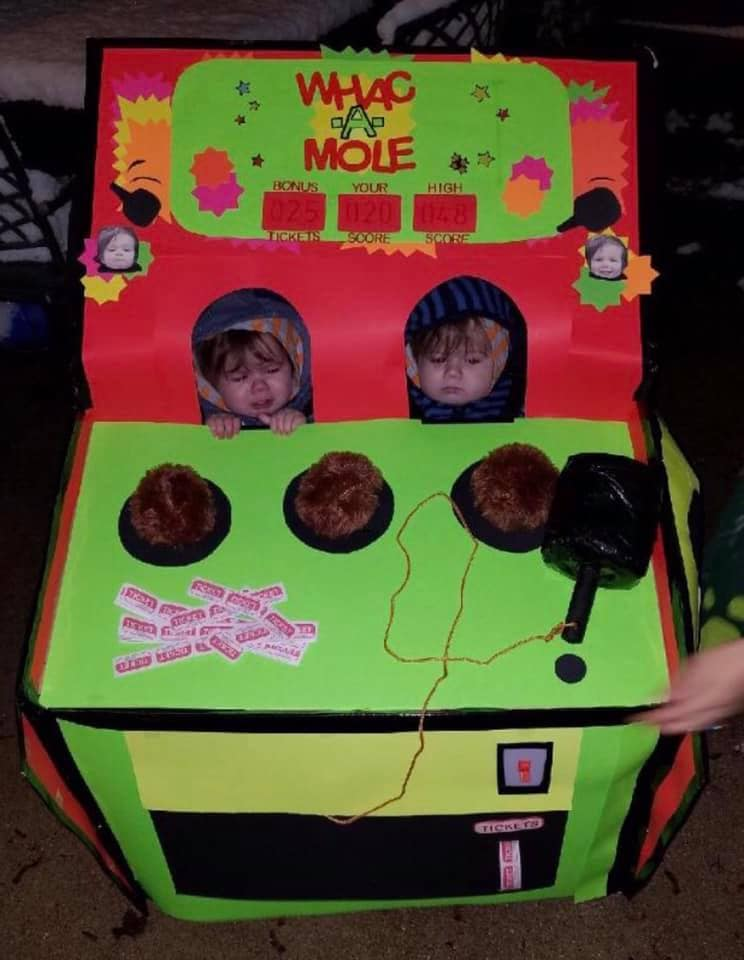 twins dressed as a whack a mole game twin boys halloween costumes
