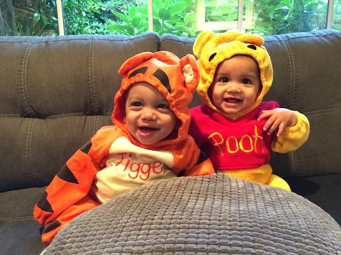 twin babies dressed as pooh and tigger twin boys halloween costumes