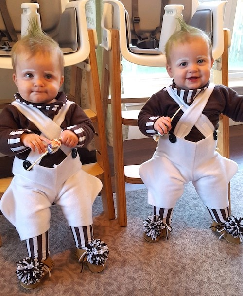 twin toddlers dressed as oompa loompahs twin boys halloween costumes