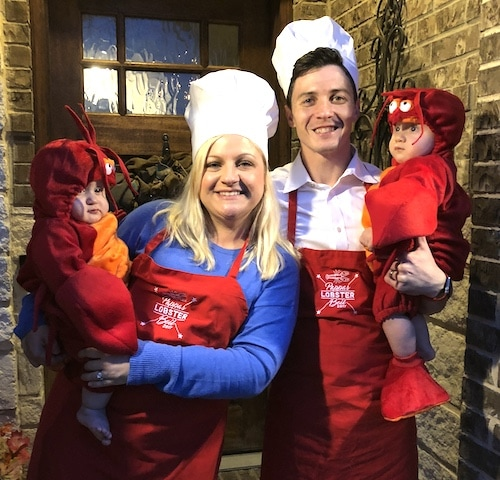 twin babies dressed as lobsters and parents are chefs twin boys halloween costumes