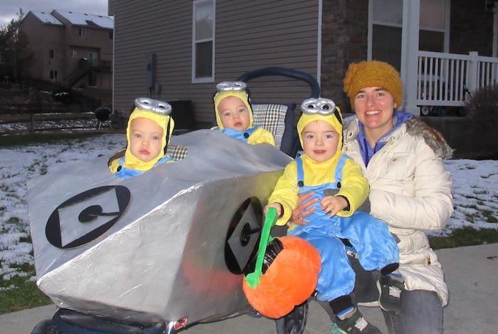 triplet boys dressed as minions twin boys halloween costumes