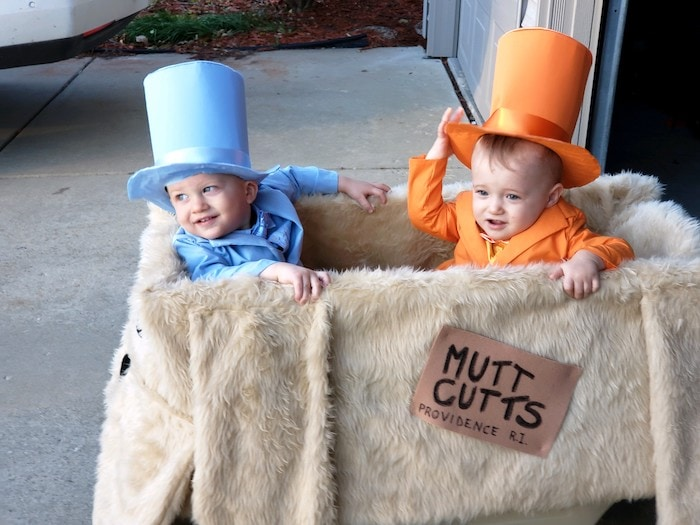 toddler boys dressed as dumb and dumber twin boys halloween costumes