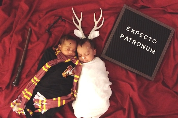 twin babies dressed as harry potter twin boys halloween costumes
