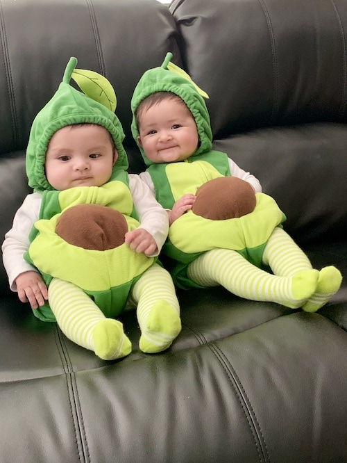 twin babies dressed as avocados twin boys halloween costumes