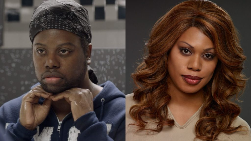 celebrity twins side by side photos of twins Laverne Cox and M Lamar