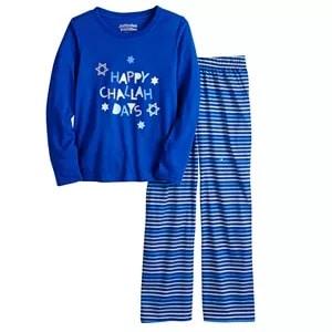 matching christmas pajamas a 2-piece blue Hanukkah pajama set