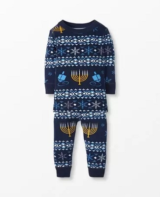matching christmas pajamas blue onsie sleeper with a menorah and dreidel