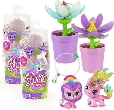 hot toys 2020 2 toy pets with fake flowers in pots and charm bracelet