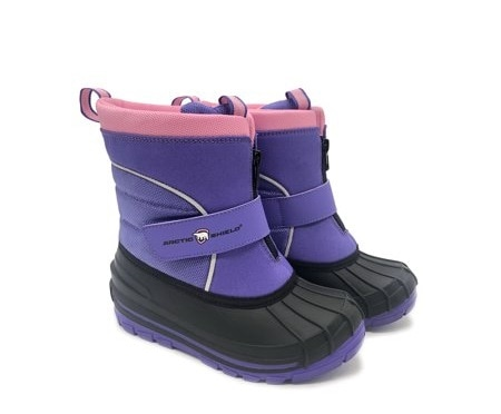 toddler snow boots purple boots with a black sole and pink trim