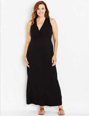 maternity baby shower dress a woman in a black maxi dress
