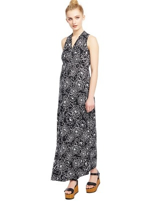 maternity baby shower dress woman in a black floral dress