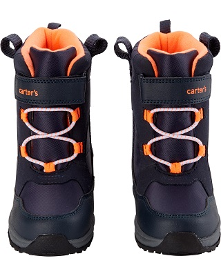 toddler snow boots. Dark blue and orange snow boots with velcro